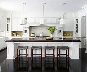 Whte Cabinetry with large Island - W.Stephens Cabinetry and Design