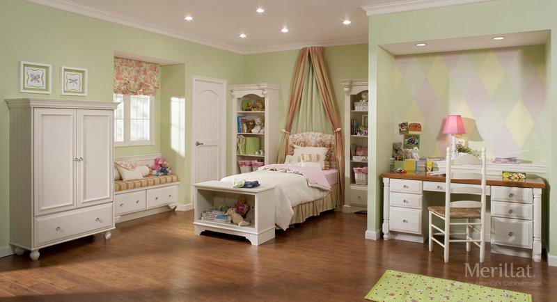 A Girl's Bedroom Inspiration Using Merillat's Sonoma Cabinet in Maple Canvas (Painted)
